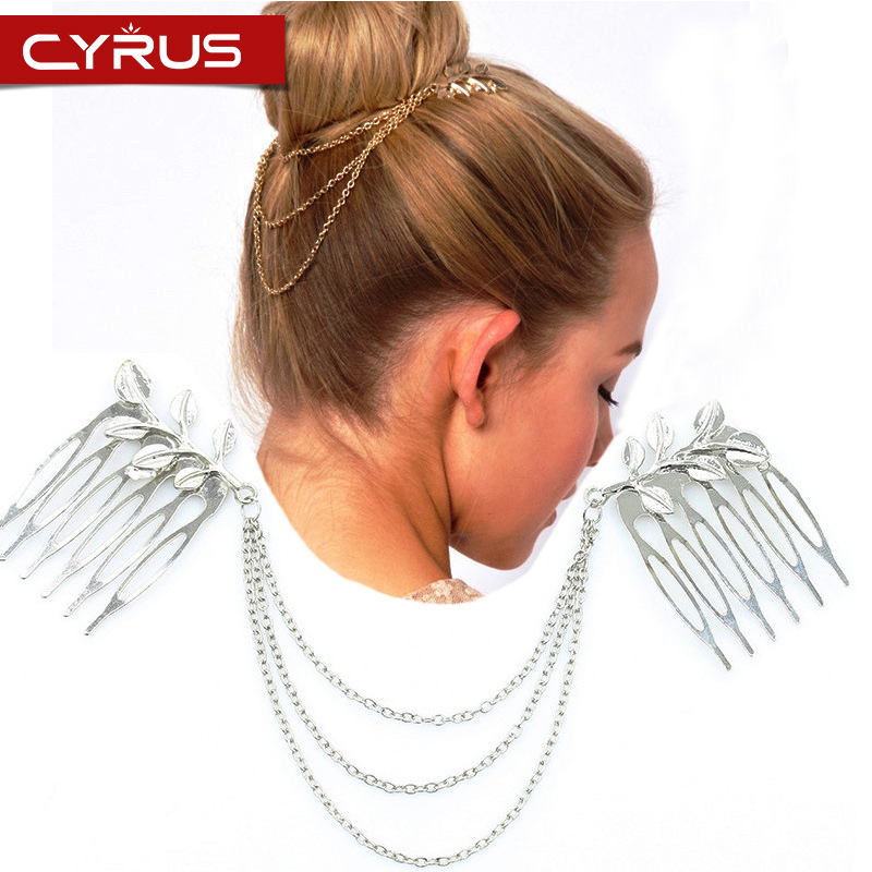 New Fashion Leaf Chain Tassel Hair Band for Women Inserting Comb Hair Bijoux Cheveux Mariage Hair Accessories Princess Jewelry