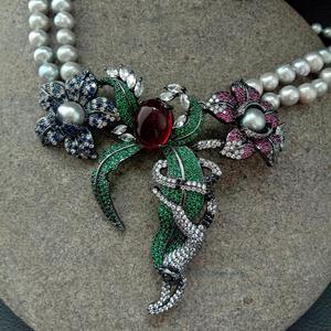 Collar de perlas de agua dulce redondas grises de 2 filas de 21