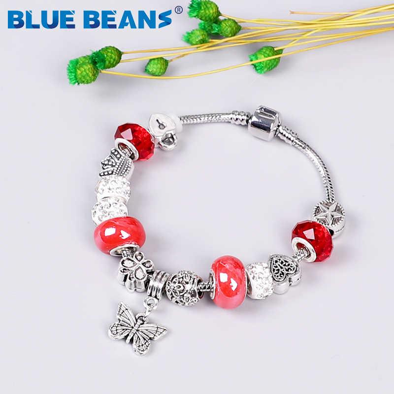 2020 bracelets pour femme bijoux perles Bracelet breloques Chakra Bracelet amour filles Bracelet acier inoxydable papillon Boho Punk