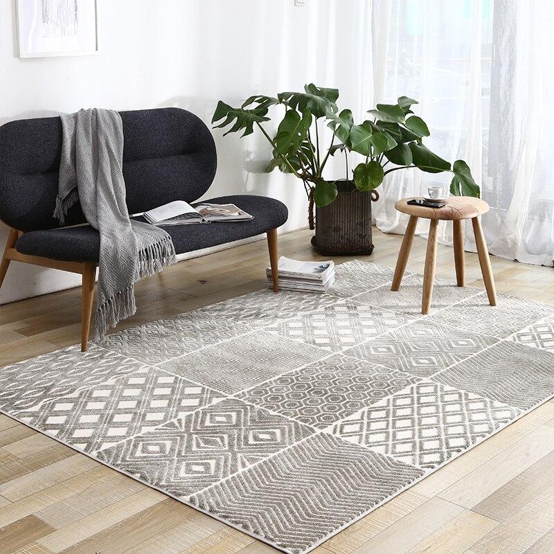 INS populaire décoration salon tapis grande taille gris géométrique villa zone tapis, style nordique grande taille chevet tapis, - 3