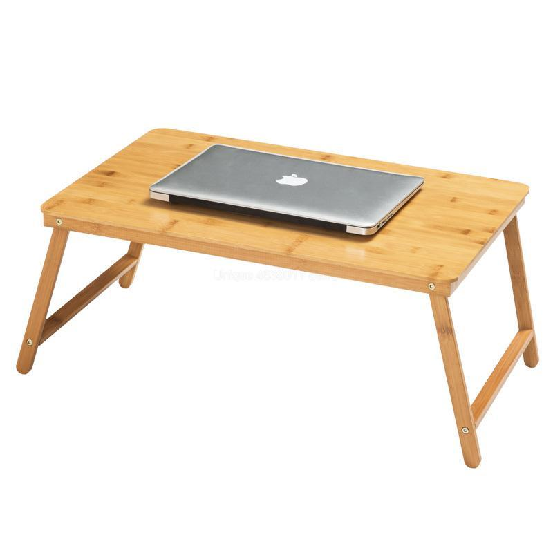 Collapsible Laptop Stand/Desk Bamboo Computer Table Adjustable Mini Desk With Foldable Legs For Dorm Bed Sofa Home Working