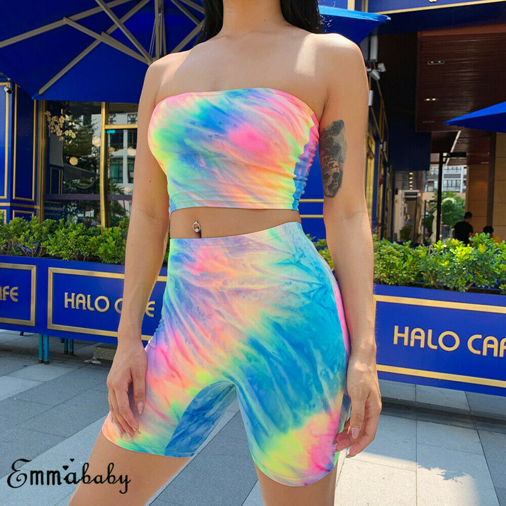 Women Holiday 2Pcs Set Sexy Colorful Bandeau Sleeveless Crop Top Shorts Summer Beach Sports Summer Set Outfit
