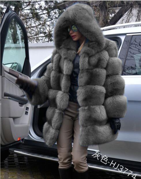 Hiver fausse fourrure manteau nouvelle mode pardessus femme moyen Style col montant fourrure de renard en vrac Imitation fourrure vestes grande taille S-4XL - 4