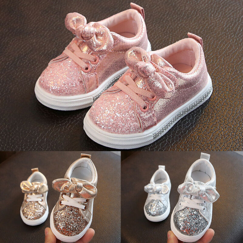 2020 Children Four Season Shoes 1-3 Years Toddler Baby Girls Bow Sequin Crib Shoe Trend Casual Shoes Glitter Bowknot Dress Shoes