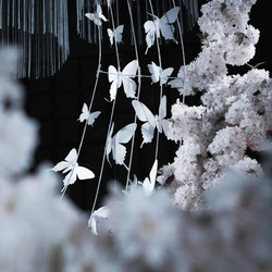 100PCS White Black Artificial Butterfly PVC Plastic Papilio Wedding Photography Props Background Hanging Decoration