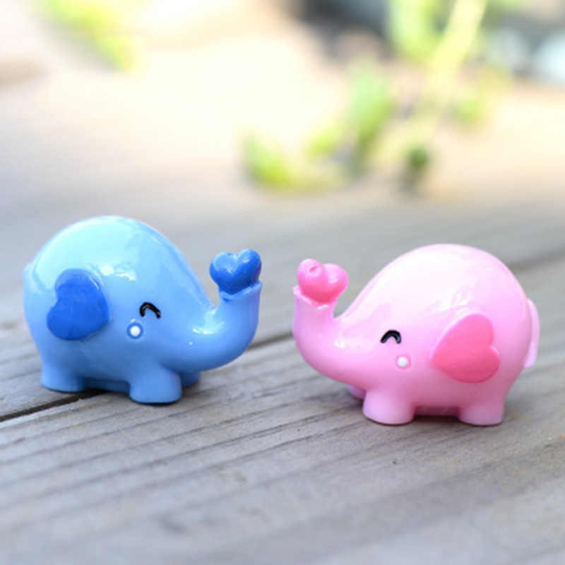 Pink Blue Marry Wedding Elephant Love Animal Crafts Gift Ornament Miniatures DIY Home Room Garden Decoration