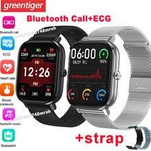 Dt35 p8 pro men relógio inteligente bluetooth chamada relógio de pulso ecg smartwatch monitor de freqüência cardíaca fitness rastreador ip67