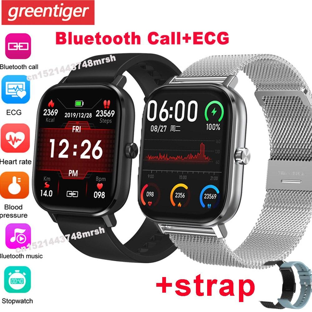 Reloj inteligente DT35 P8 Pro IP67 para hombre y mujer, reloj inteligente con llamadas, Bluetooth y control de ritmo cardíaco, ECG