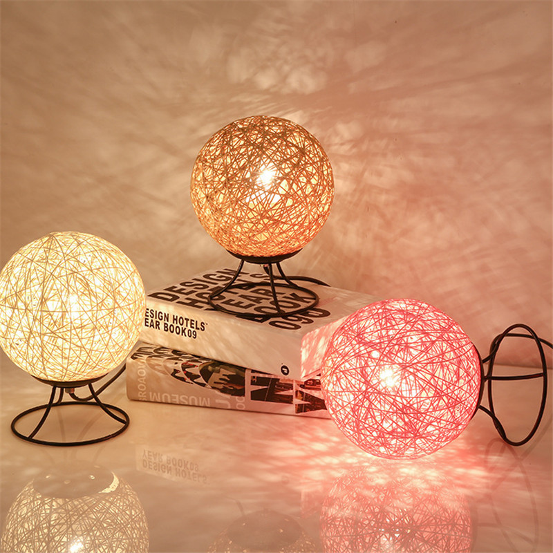 Creative LED Table Lamp Bedroom Bedside Desk Wrought Iron Night Light Home Decoration