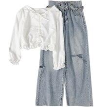 2020 Spring summer women long sleeve v neck clothes sets top short T-shirt high waist wide leg jeans pants casual out wear цена и фото