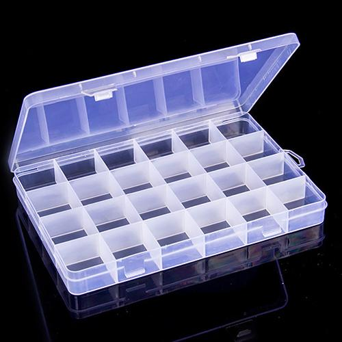 Useful 24 Compartments Clear Plastic Storage Box Bin Jewelry Earring Case Container
