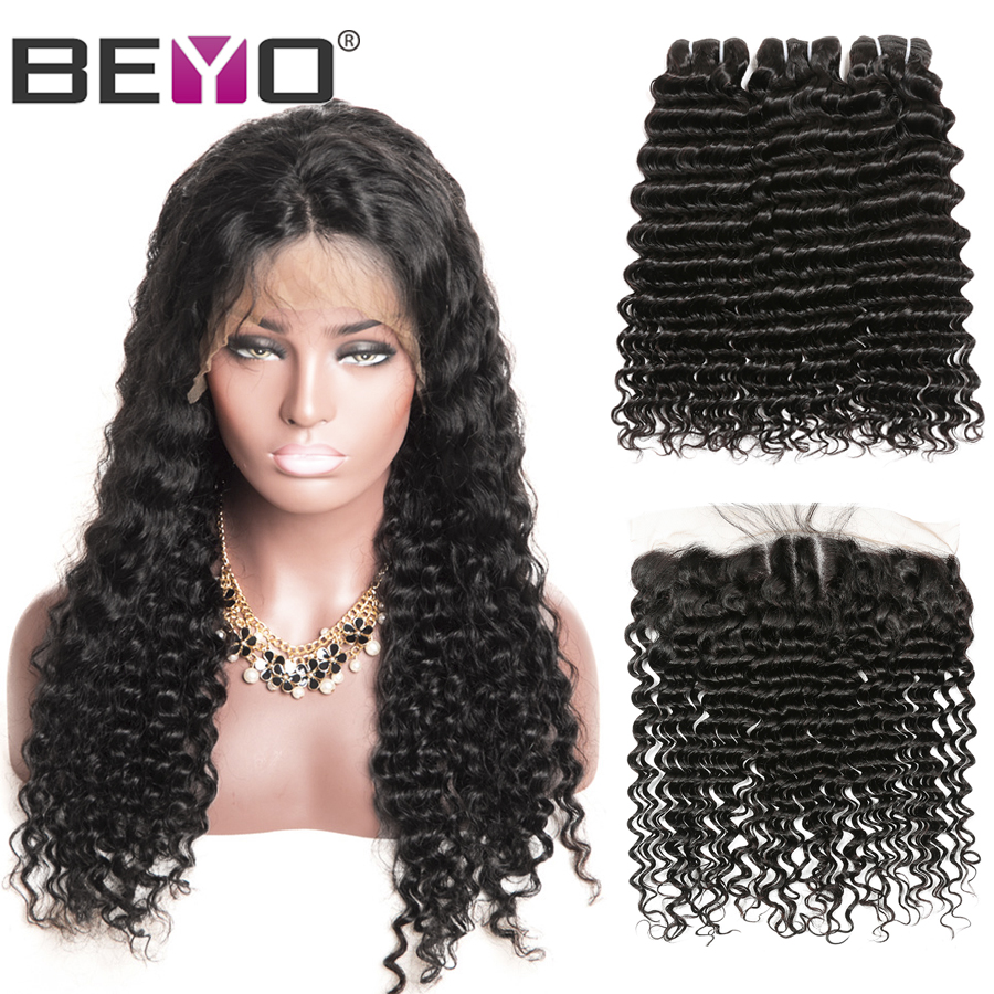 300% Density Free Customized Wig Brazilian Deep Wave Lace Frontal Wig By Remy Hair Bundles With Frontal Beyo Hair Lace Wig