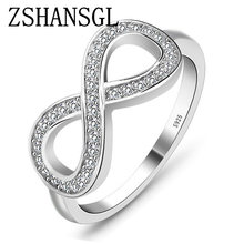 แฟชั่น cz Infinity Endless Love claddagh 8 shape 925 แหวน(China)