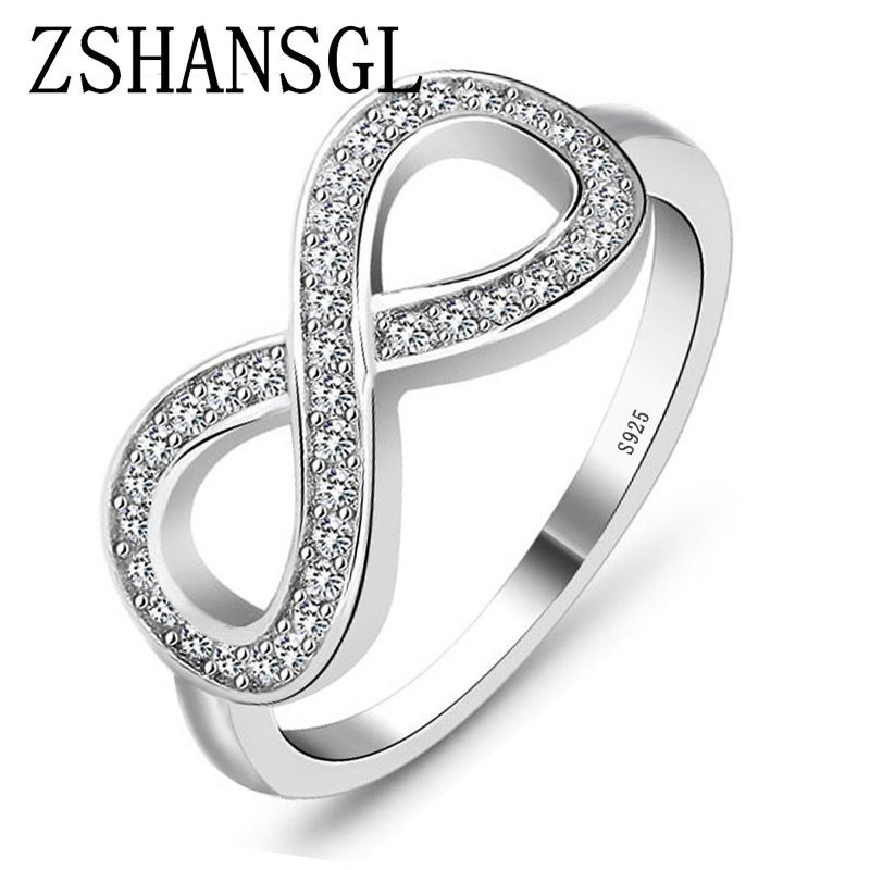 Fashion Cz Infinity Endless Love Claddagh 8 Shape 925 Sterling Silver Rings For Women Plata/argento Filled Jewelry Anel Feminino