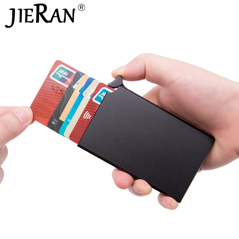 RFID Anti-theft Wallet Smart Thin Credit Card Holder ID Card Case Automatically Pop Up Solid Metal Bank Card Purse Business Mini