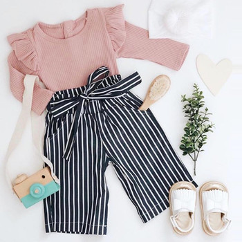 Newborn Kids Clothes Sets Autumn Baby Girls Ruffle Outfits Clothes Romper Bodysuit + Bow Stripe Long Pants Set combinaison bebe new arrival easter baby girls long sleeve cotton floral ruffle boutique romper tutu pink clothes bunny kids wear match bow kids