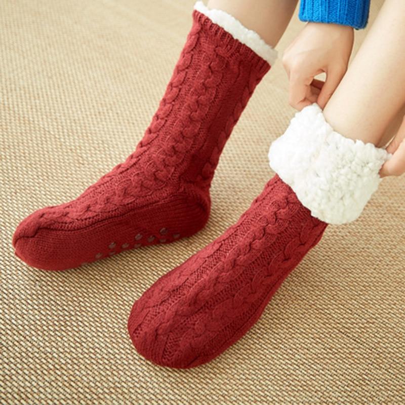 Осенне зимние плотные плюшевые трикотажные хлопковые носки, женские нескользящие домашние носки тапочки, теплые Чулочные изделия до середины голени для дома, Новинка|Носки|   | АлиЭкспресс
