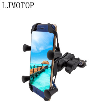 For honda CBR 600 F2,F3,F4,F4i CBR600RR CBR600 CBR750 RR Motorcycle Phone Bracket Handlebar Holder With USB Any Smartphone GPS image