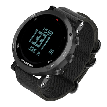 Sunroad men's sport digital barometer altimeter compass pedometer waterproof watch calorie Casual Luminous Stopwatch Wrist watch sunroad fishing barometer watch fr720a men altimeter thermometer weather forecast 50m waterproof stopwatch smart watch black