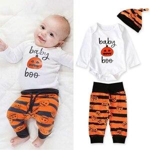 Conjuntos de 3 uds. De ropa para bebé, Pelele de manga larga My first Halloween 2019 + Pantalones de calabaza + sombrero, ropa recién nacido niños, trajes