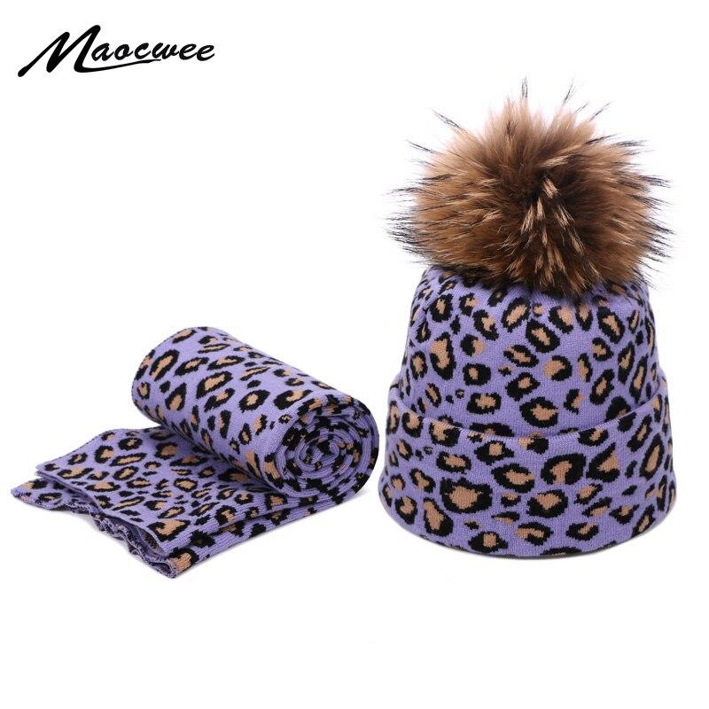 New Fashion Beanie Hat Scarf Set For Women Leopard Print Autumn Winter Plus Velvet Warm Scarf Female Cotton Real Fur Pompon Caps