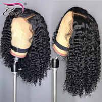 Pelucas de cabello humano rizado con encaje Frontal, pelo de Elva peruano Remy, peluca Frontal 360, nudos blanqueados prearrancados, pelo de bebé 13x6, peluca de encaje