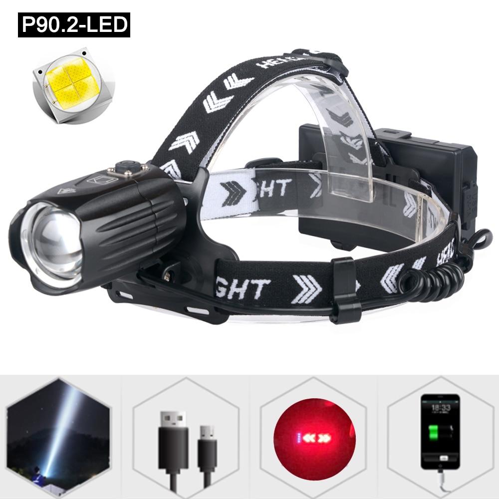 New High Lumen XHP90.2 Led Headlamp High Power 90 Degree Zoom Flashlight For Running Fishing Best Headlight With Red Safty Light