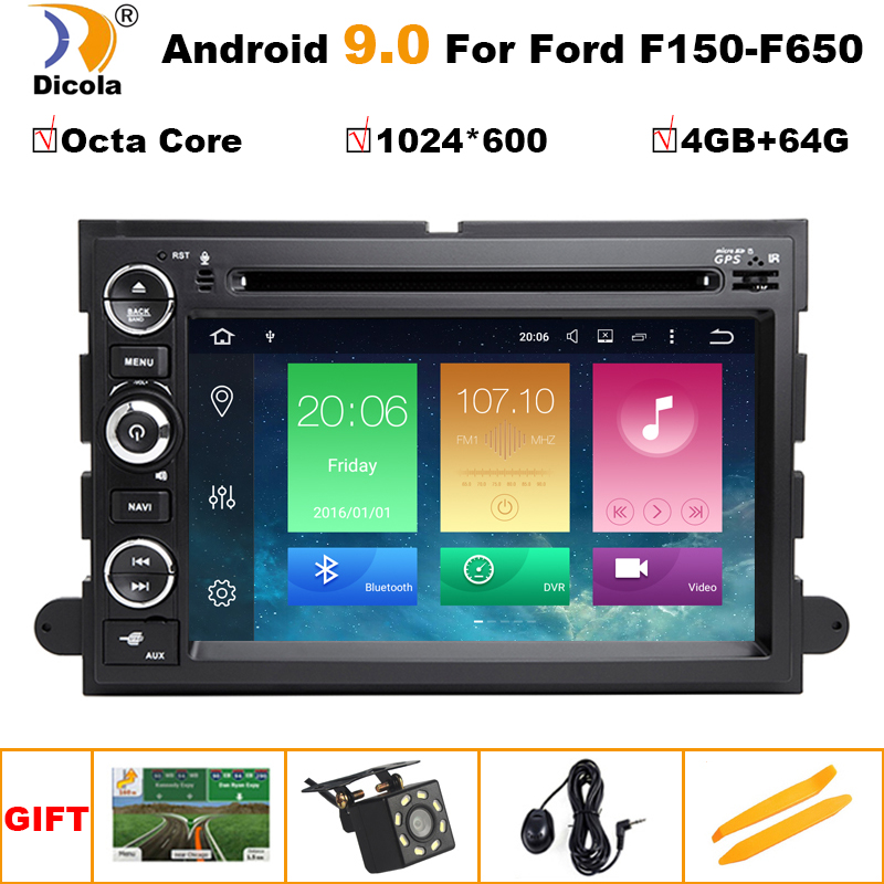 4G+64G IPS PX5 Android 9 Car DVD Player for Ford 500/F150/Explorer/Edge/Expedition/<font><b>Mustang</b></font>/fusion/Freestyle Radio Stereo GPS image