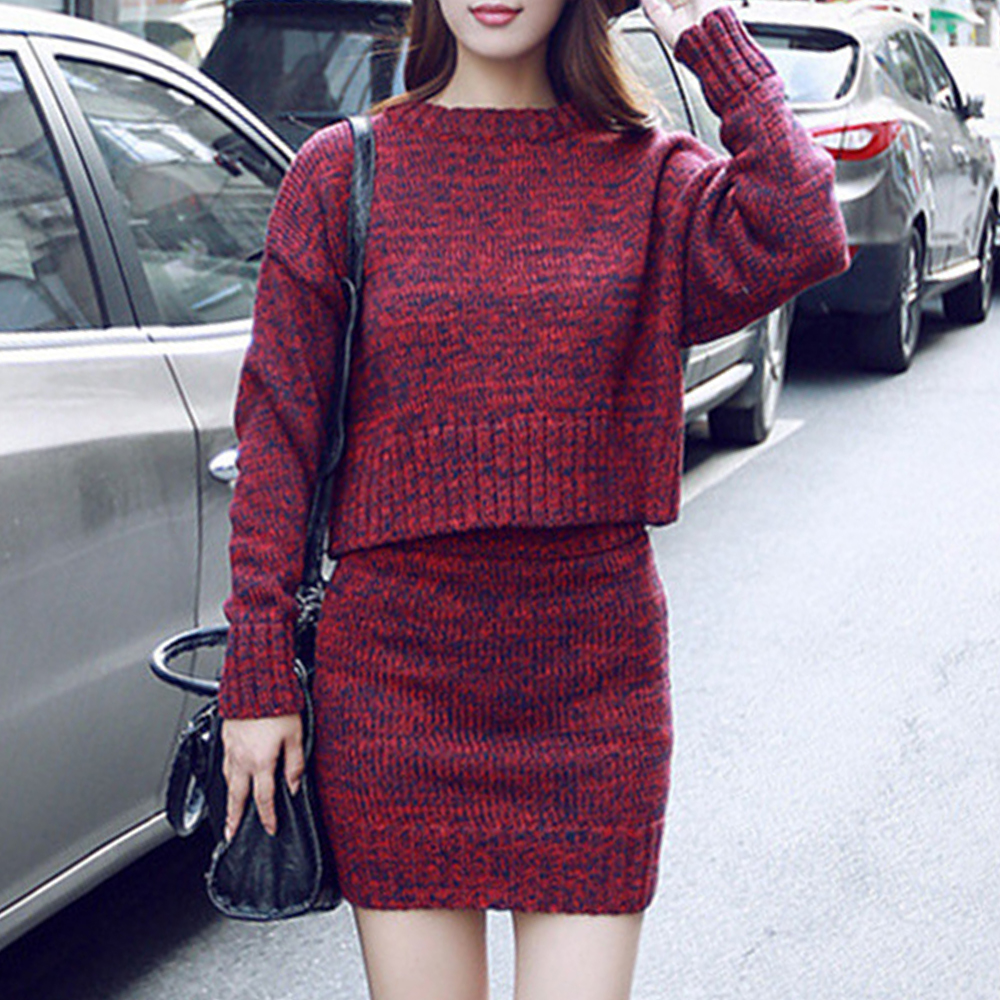 Women's Knitted Suit Set Two Piece Matching Skirt Sets Women Clothes 2020 Fashion Solid Knit Sweater Dress Femme