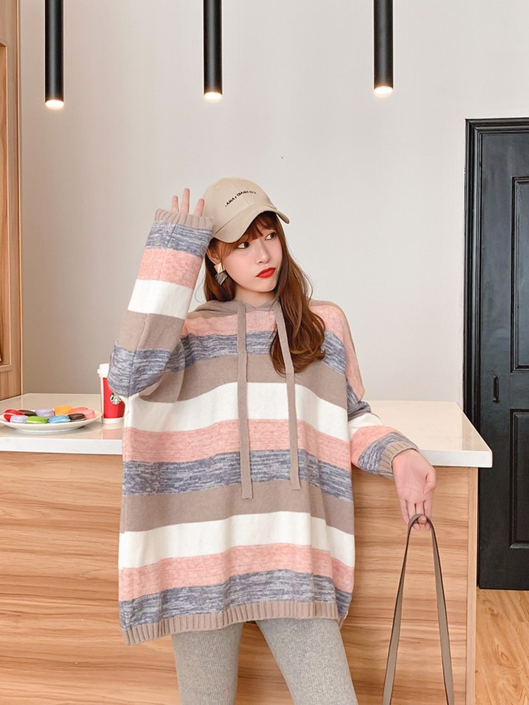 Hooded Sweater Women 2019 New Korean Style Female Pullover Striped Oversized Sweater Sweet Knitted Jumper Top Shirt pull femme