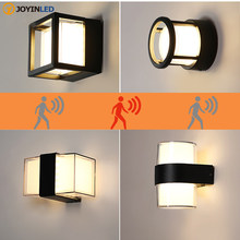 Luz LED de pared con sensor de movimiento del cuerpo humano, lámpara de pared impermeable IP65 para exteriores, accesorio de luz de jardín, AC90-260V de aluminio