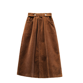 Lucyever Plus Size Women Corduroy Skirt Autumn Winter Vintage Harajuku Loose A-line Female Long Skirt High Waist Lady Faldas 5xl 6