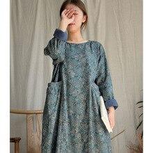 SCUWLINEN Осень Зима Женское платье Vinatge цветочный принт длинный рукав толстый теплый флис длинное платье S1016