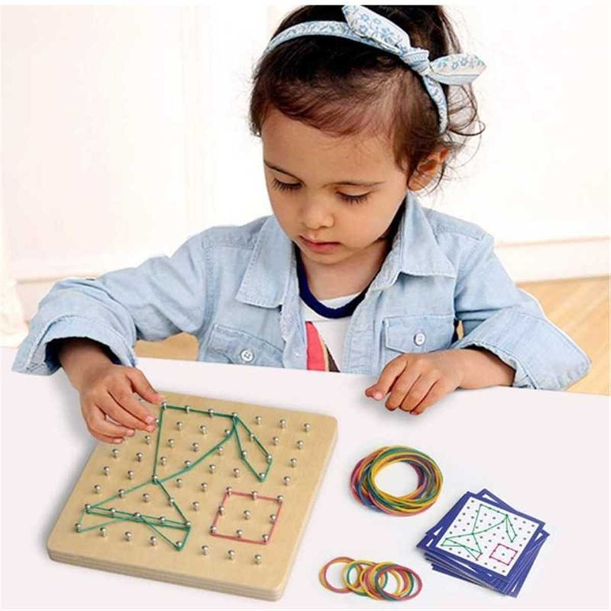 17.8*17.8cm Children Wooden Montessori Shape Boards Match Shape Toys Early Fine Motor Skills Development Sensorial Education