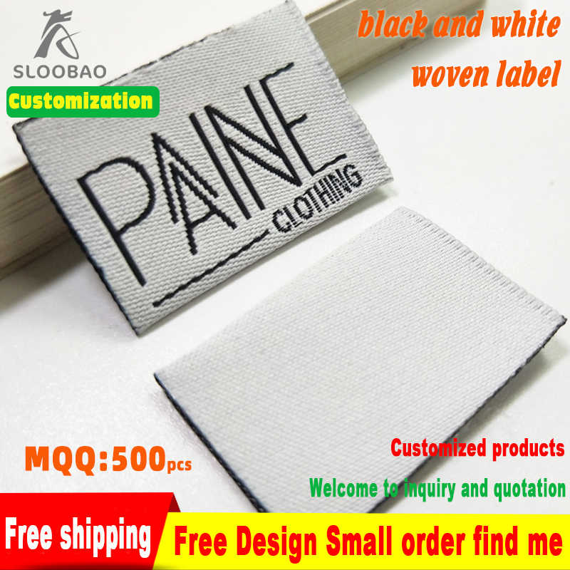 Free shipping Custom Large Garment Embroidered Labels Woven Labels Sewing Clothing Jacket Jeans Labels Tags 1000pcs