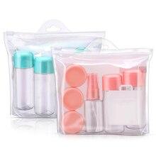 8 sztuk zestaw butelek podróżnych szczelna pojemniki na przybory toaletowe wielokrotnego użytku na płynny szampon z butelka z rozpylaczem kosmetyczne butelki na krem