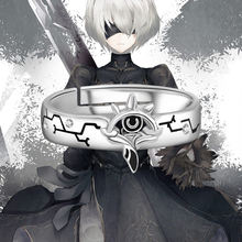 Anime nier: automata yorha no.2 tipo b 2b anel 925 prata esterlina dedo anel ajustável jóias unisex cosplay adereços presente