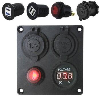 5 в 3.1A Автомобильная Панель переключатель двойной USB разъем + светодиодный вольтметр + розетка питания + вкл. Выкл. Панель с переключателями д...