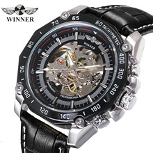 WINNER Official Brand Luxury Steampunk Automatic Mechanical Watch Men Skeleton Big Dial Fashion Casual Leather Strap Wristwatch