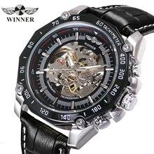 Часы наручные WINNER Мужские механические, брендовые Роскошные автоматические Модные повседневные с большим циферблатом и кожаным ремешком, в стиле стимпанк
