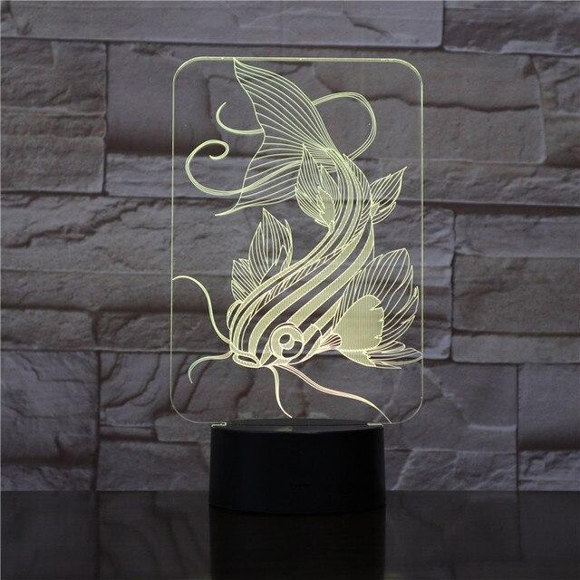 Décoration dintérieur poisson 3d Illusion Led veilleuse lampe poisson-chat divers Design en option rvb couleurs lumière changeante pour chambre