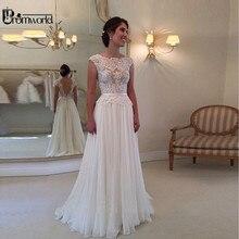 ホット販売レースのウェディングドレス 2020 安いビーチ花嫁ドレスaラインのセクシーな背中キャップスリーブシフォンvestidosデnoiva