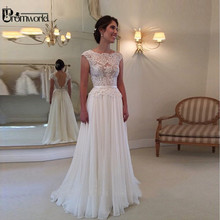 Hot Sell Lace Wedding Dresses 2020 Cheap Beach Bride Dress A Line Sexy backless Cap Sleeve Chiffon Vestidos De Noiva
