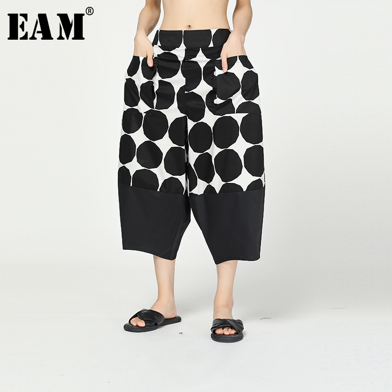 [EAM] High Elastic Waist Black Dot Print Split Harem Trousers New Loose Fit Pants Women Fashion Tide Spring Autumn 2020 1R297