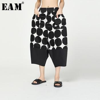 [EAM] High Elastic Waist Black Dot Print Split Harem Trousers New Loose Fit Pants Women Fashion Tide Spring Autumn 2020 1R297