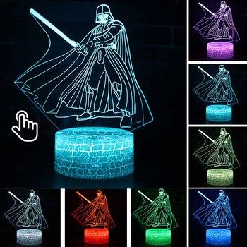 Star Wars Darth Vader Anime Figure Acrylic 3D Illusion LED Lamp Colourful NightLight Death Star Mask Yoda Model Toys Child Gift 28