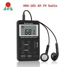 HanRongDa HRD-103 AM FM Radio cyfrowe 2 zespół odbiornik Stereo przenośny kieszonkowy Radio w/słuchawki ekran LCD akumulator