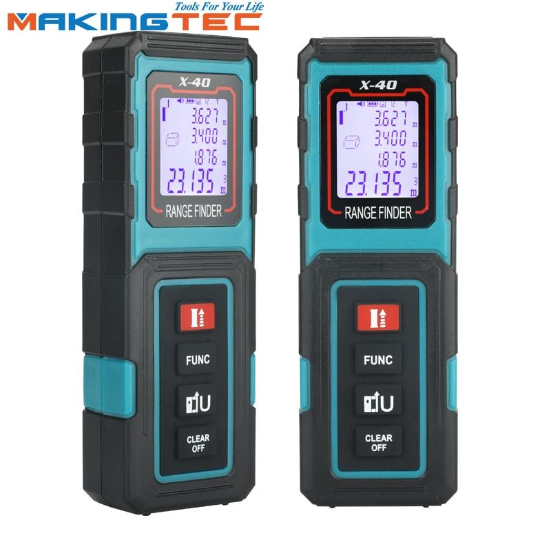 MAKINGTEC Laser Medidor Laser Rangefinder 40/60M Fita Digital Dispositivo De Medição Medidor de Distância Digital A Laser Fita Métrica de Roleta