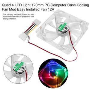 Quad 4 LED Light 120mm PC Computer Fan Computer Case 12V Cooling Fan Mod Quiet Molex Connector Easy Installed Fan Colorful(China)