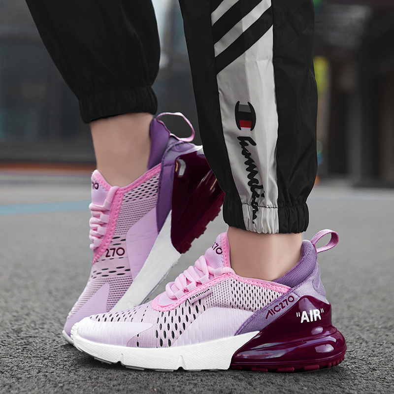 Women Running Shoes Breathable Mesh Lace Up Flat Sneakers Black Sport Woman Designer Shoes For Girls